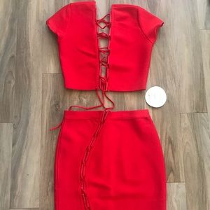 New miss circle red bandage skirt top S m